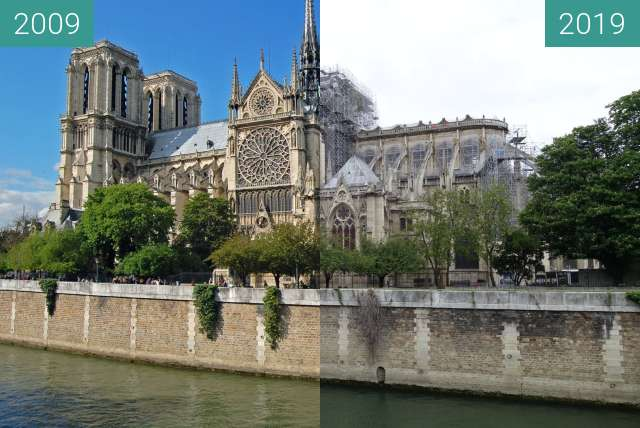 Before-and-after picture of Notre-Dame after the fire between 2009-Apr-28 and 2019-May-05
