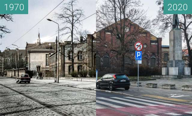 Before-and-after picture of Ulica Grunwaldzka between 1970 and 2020
