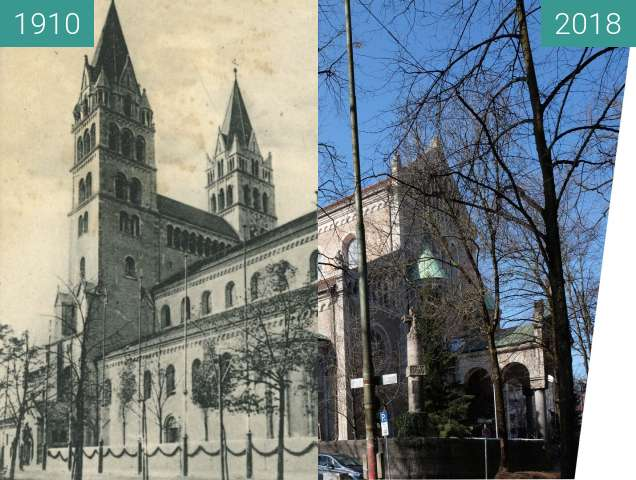 Before-and-after picture of Maximilianskirche (2) between 1910 and 2018-Mar-04