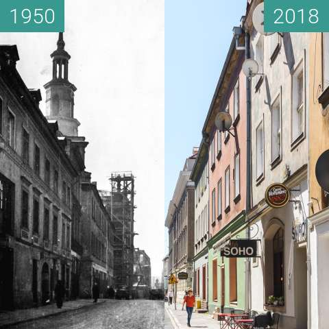 Before-and-after picture of Ulica Wroniecka between 1950 and 2018