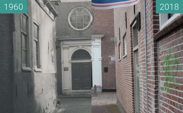 Before-and-after picture of Synagog Alkmaar between 1960 and 2018-Feb-27