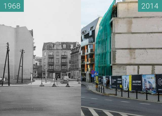 Before-and-after picture of Ulica Poznańska between 1968 and 2014-Aug-12
