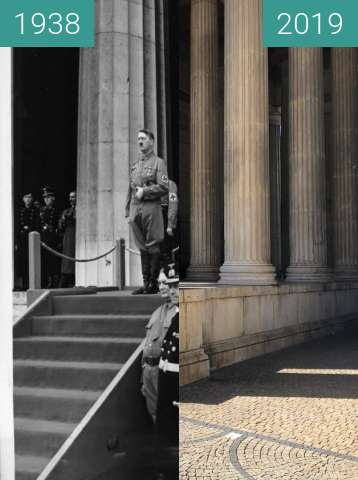Before-and-after picture of Hitler am Königsplatz, 9.11.1938 (2) between 1938-Nov-09 and 2019-Sep-04