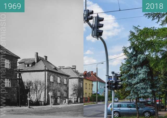Before-and-after picture of Ulica Zagonowa between 1969 and 2018-May-23