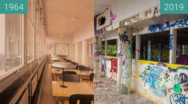 Before-and-after picture of Institut Dolomieu - Salle de lecture between 1964 and 2019-Oct-31