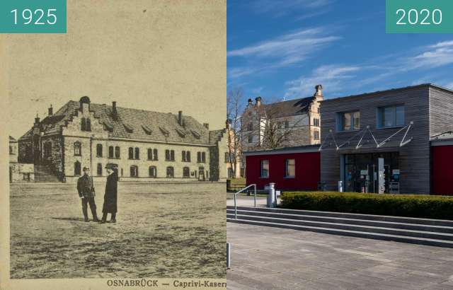 Before-and-after picture of Caprivi-Kaserne 1 between 04/1925 and 03/2020