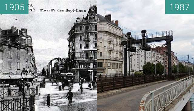 Before-and-after picture of Grenoble | Cours Berriat : Passage à niveaux. between 1905 and 2015