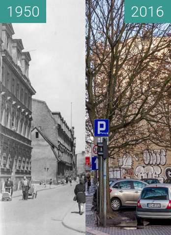 Before-and-after picture of Ulica Za Bramką between 1950 and 2016