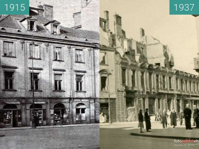Before-and-after picture of Senate Street in Warsaw between 1915 and 1937