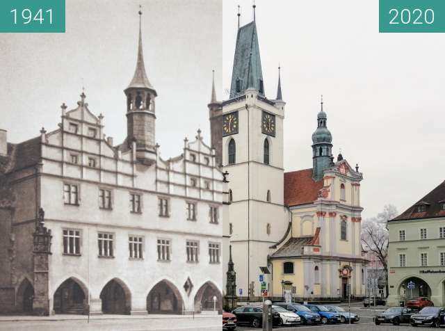 Before-and-after picture of Litoměřice, Mírové Náměstí, Czech Republic between 1941 and 2020-Jan-03