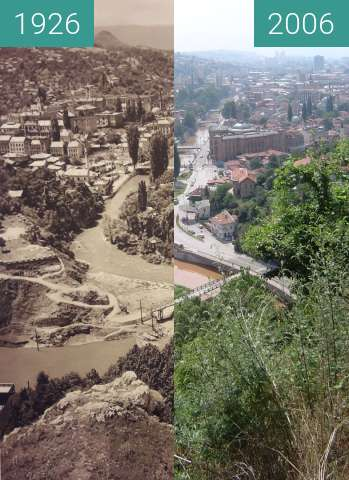 Before-and-after picture of View on Sarajevo between 1926 and 2006-Jul-29