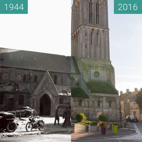Before-and-after picture of Notre-Dame-de-la-Nativité during WW2 between 1944-Jun-06 and 2016-Oct-22