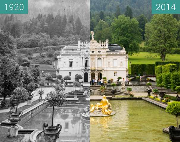 Before-and-after picture of Schloss Linderhof between 1920 and 2014-Jul-26