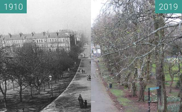 Before-and-after picture of Queen's Park path between 1910 and 2019-Mar-24