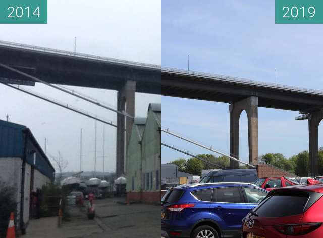 Before-and-after picture of WW2-era warehouse at Port Edgar, South Queensferry between 2014-Apr-03 and 2019-May-14