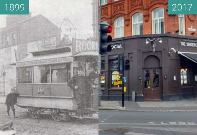 Before-and-after picture of shepherds bush between 1899 and 2017