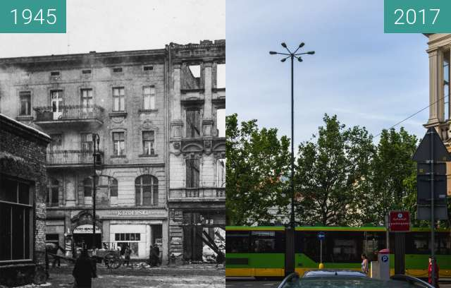 Before-and-after picture of Ulica 27 Grudnia/Kantaka between 1945 and 2017-Jun-15