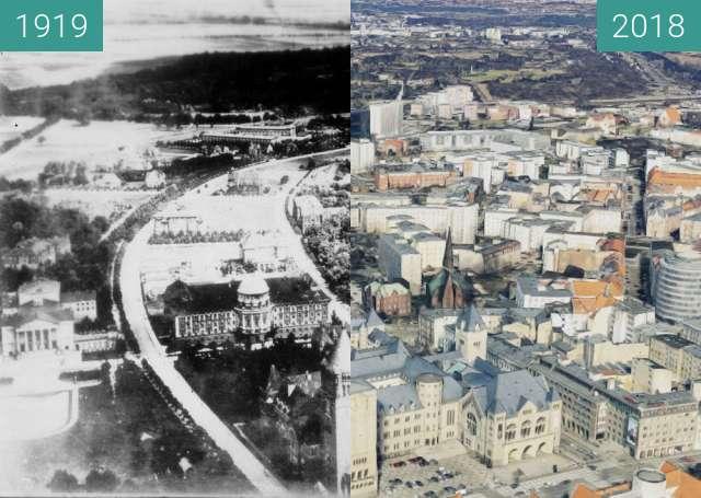 Vorher-Nachher-Bild von Poznań zwischen 1919 und 2018