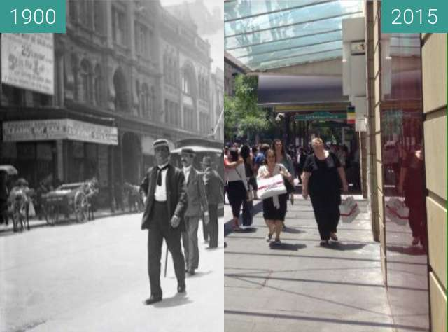 Before-and-after picture of Pitt Street, Sydney between 1900 and 2015