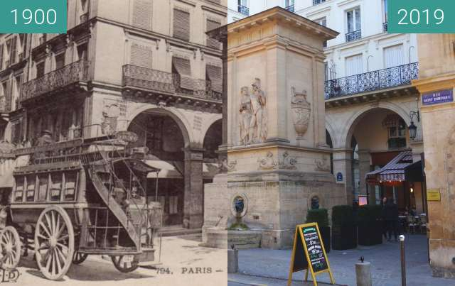 Before-and-after picture of Fontaine de Mars between 1900 and 2019-Feb-17