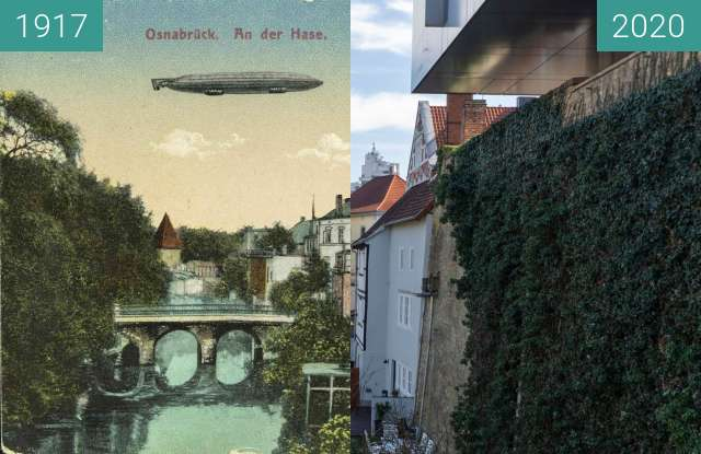 Before-and-after picture of Osnabrück an der Hase between 12/1917 and 03/2020