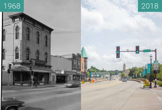 Before-and-after picture of Downtown West Dundee (1968/2018) between 1968 and 2018-Aug-15