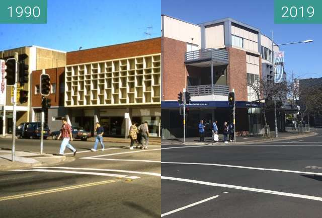 Before-and-after picture of Station and Henry Streets, Penrith between 1990 and 2019