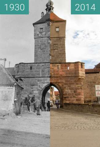 Before-and-after picture of Wolframs-Eschenbach - Oberes Tor between 1930 and 2014-Feb-07
