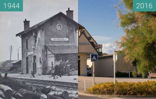 Before-and-after picture of German prisoners at the station in Bernières between 1944 and 2016-Oct-22
