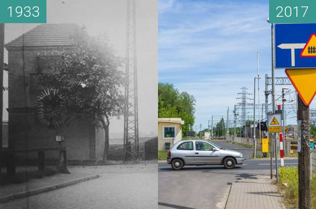 Before-and-after picture of Ulica Krańcowa between 1933 and 2017-Jun-03