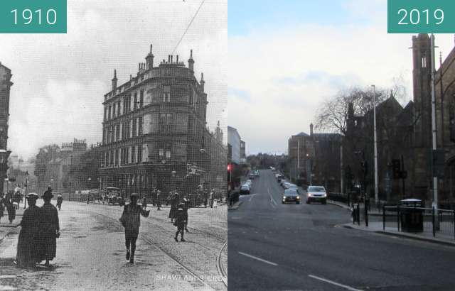 Before-and-after picture of Shawlands Cross between 1910 and 2019-Mar-24
