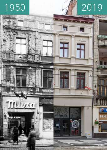 Before-and-after picture of Ulica Św. Marcin, Kino Muza between 1950-Nov-17 and 2019-May-23