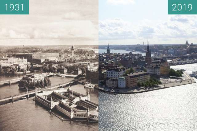 Before-and-after picture of Stockholm, Sweden, 1931 by Kurt Hielscher between 1931 and 2019-Aug-19