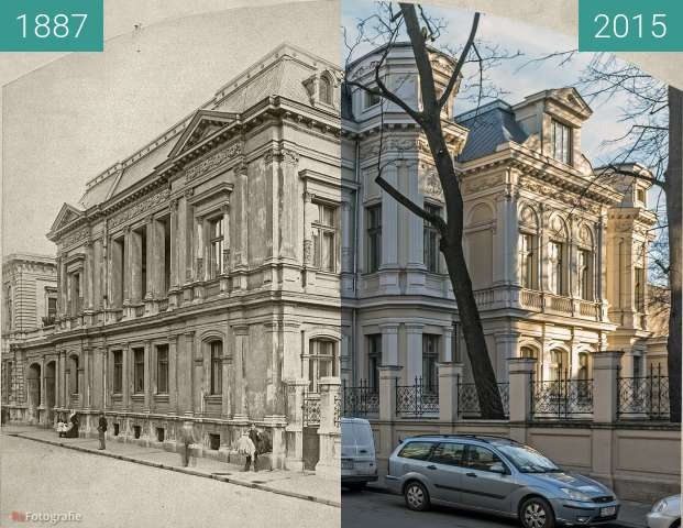 Before-and-after picture of Pasaż Meyera 7 (ul. Moniuszki 7) between 1887 and 2015