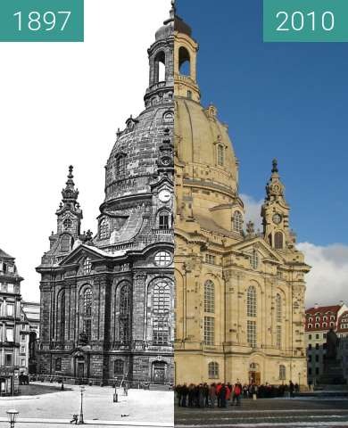 Before-and-after picture of Frauenkirche Dresden between 1897 and 2010-Jan-30