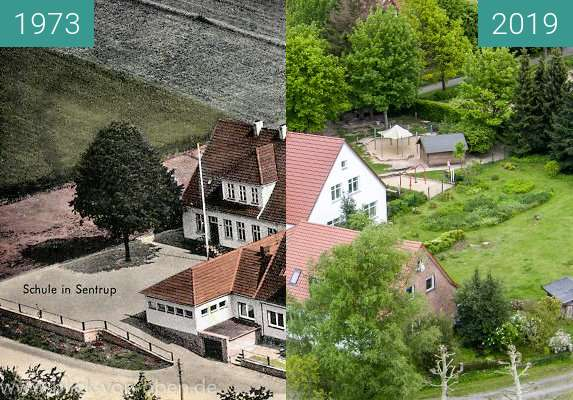 Before-and-after picture of Die alte Dorfschule in Bad Iburg-Sentrup between 1973 and 2019-May-15
