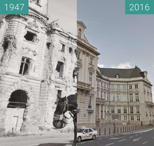 Vorher-Nachher-Bild von Pałac Jabłonowskich w Warszawie zwischen 1947 und 2016