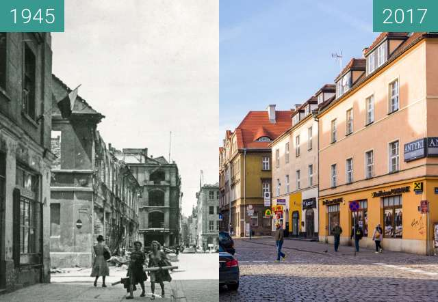 Before-and-after picture of Ulica Wielka between 1945 and 2017