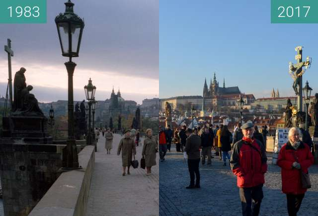 Before-and-after picture of Prager Burg von der Karlsrbrücke aus gesehen between 1983-Oct-01 and 2017-Nov-14