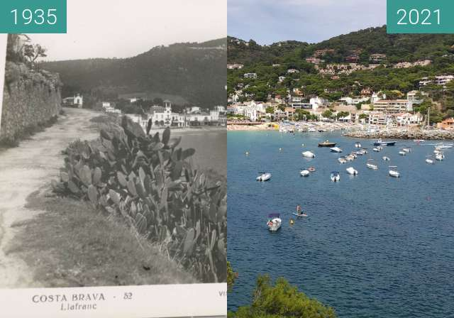 Before-and-after picture of vue llafranc between 1935 and 2021-Aug-07