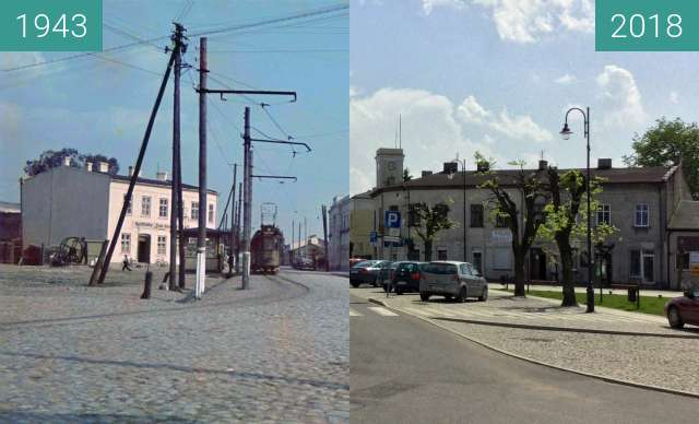 Before-and-after picture of Tuszyn (Tuschin) main Square between 1943 and 2018-Apr-29