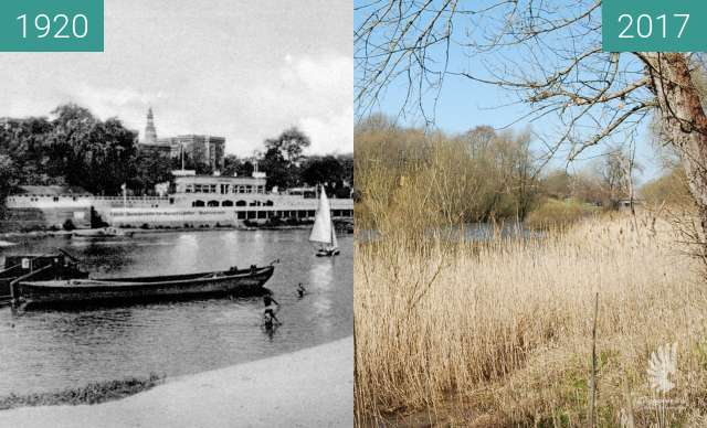 Before-and-after picture of View with old riverbed of Odra, RuderclubNeptun between 1920 and 2017
