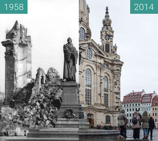 Before-and-after picture of Martin-Luther-Denkmal vor Frauenkirche between 11/1958 and 2014-Feb-15