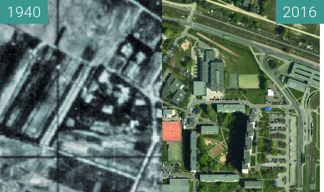 Before-and-after picture of Folwark Piątkowo between 1940 and 2016