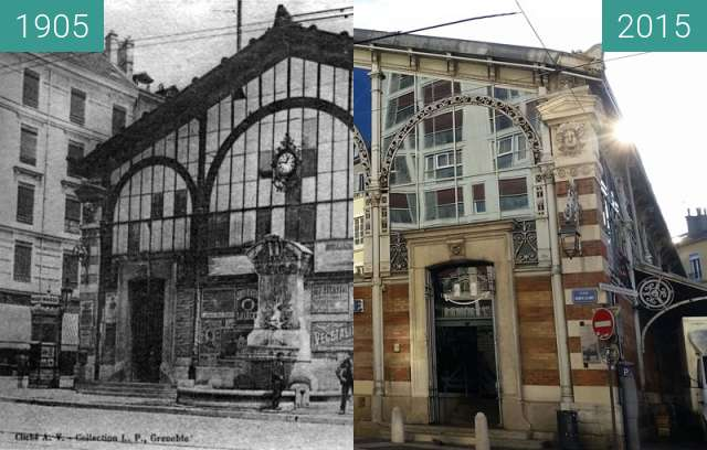 Before-and-after picture of Grenoble | Place Sainte Claire (1905) between 1905 and 2015