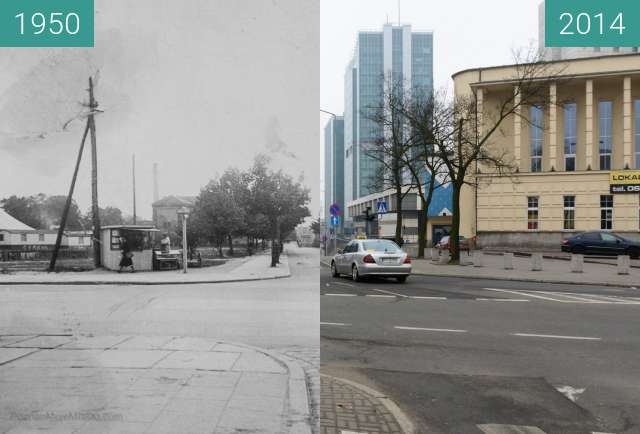 Before-and-after picture of Ulica Kościuszki between 1950-Aug-12 and 2014-Aug-12