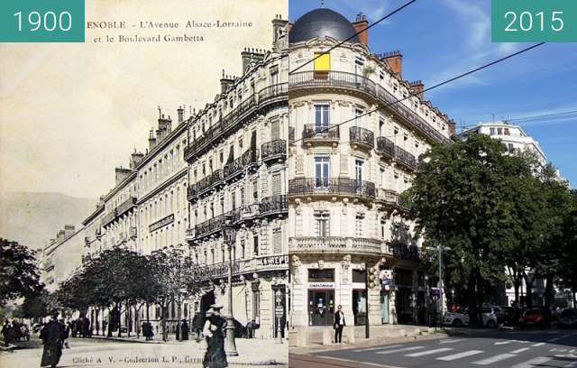 Before-and-after picture of Grenoble | Boulevard Gambetta  between 1900 and 2015