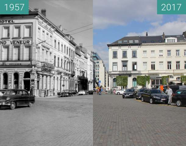 Before-and-after picture of Place du Luxembourg, Brussels between 1957 and 2017-Apr-15