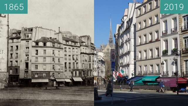 Before-and-after picture of Place Maubert between 1865 and 2019-Feb-15