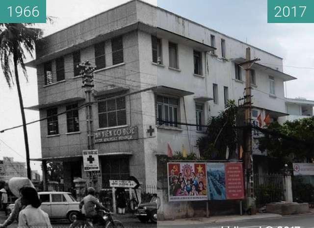 Before-and-after picture of Saigon Adventist Hospital between 1966 and 2017